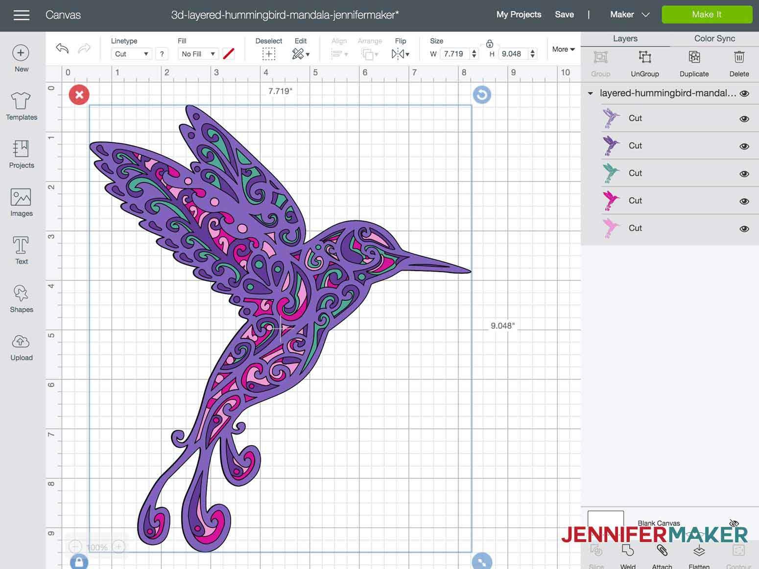 3d layered mandala hummingbird import SVG