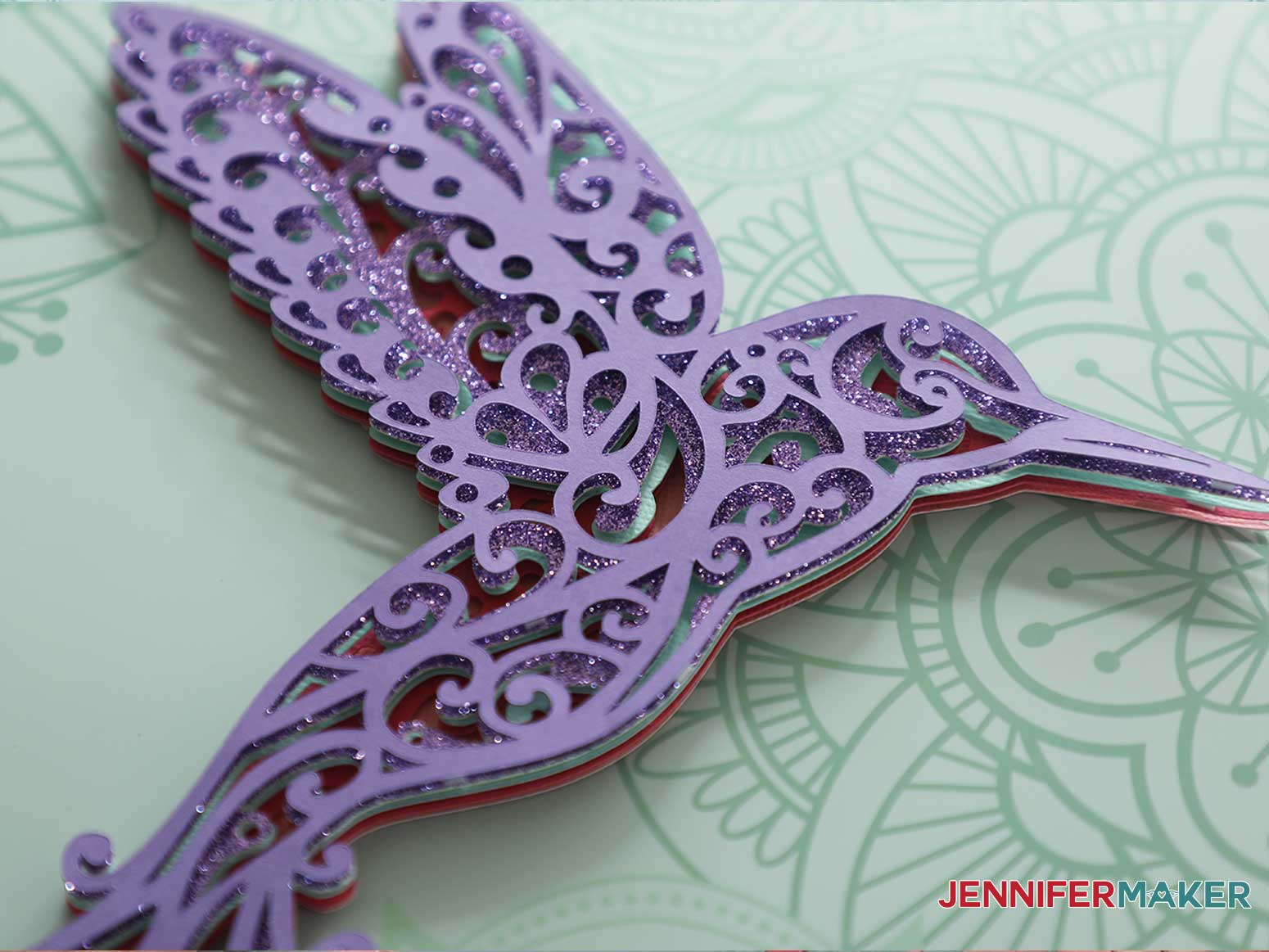 3d layered mandala hummingbird detail