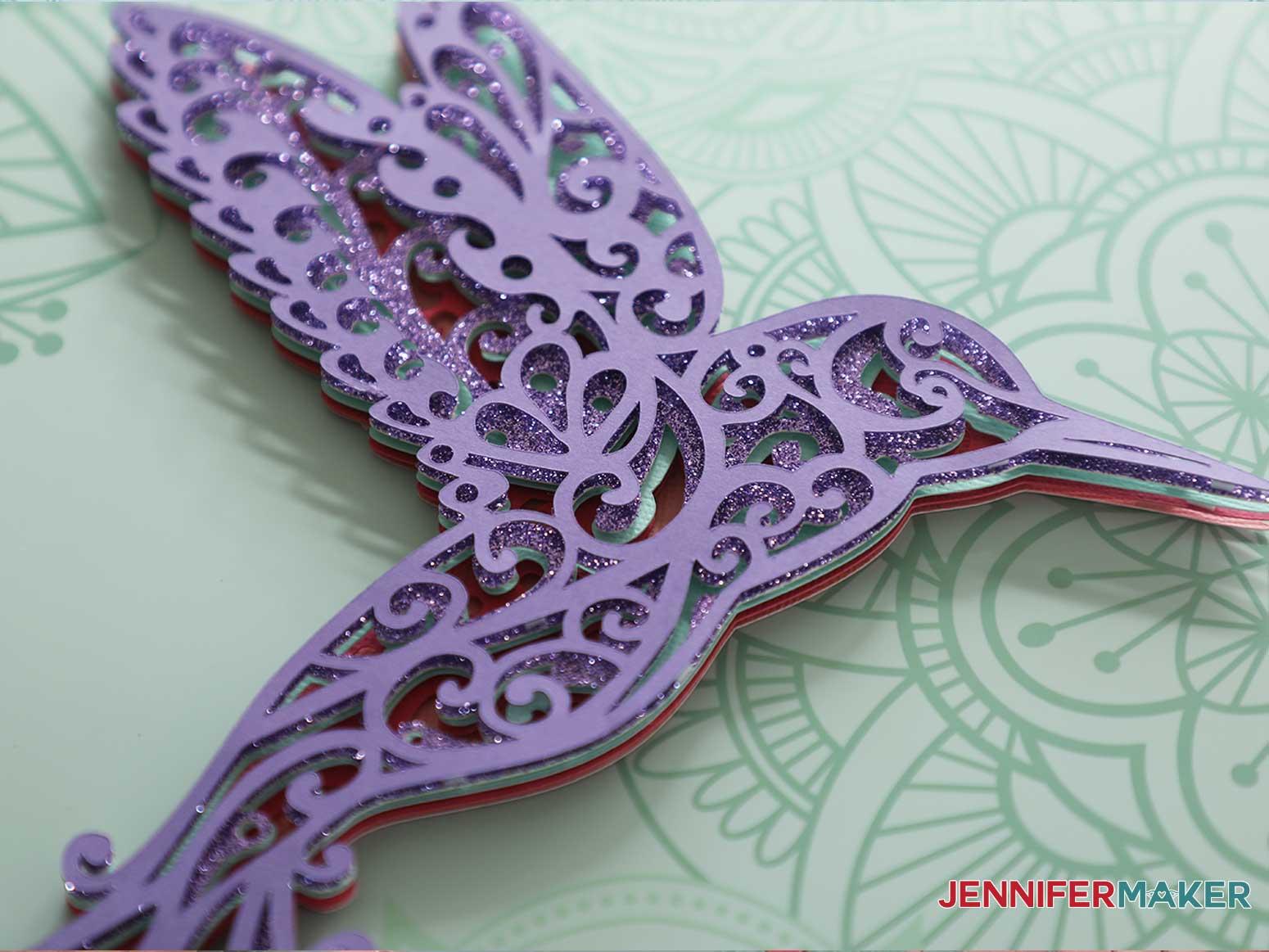 3d layered mandala hummingbird detail