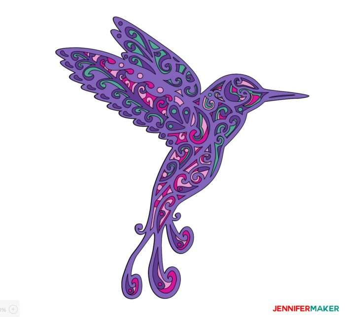 Pretty purple hummingbird made from layers of cardstock