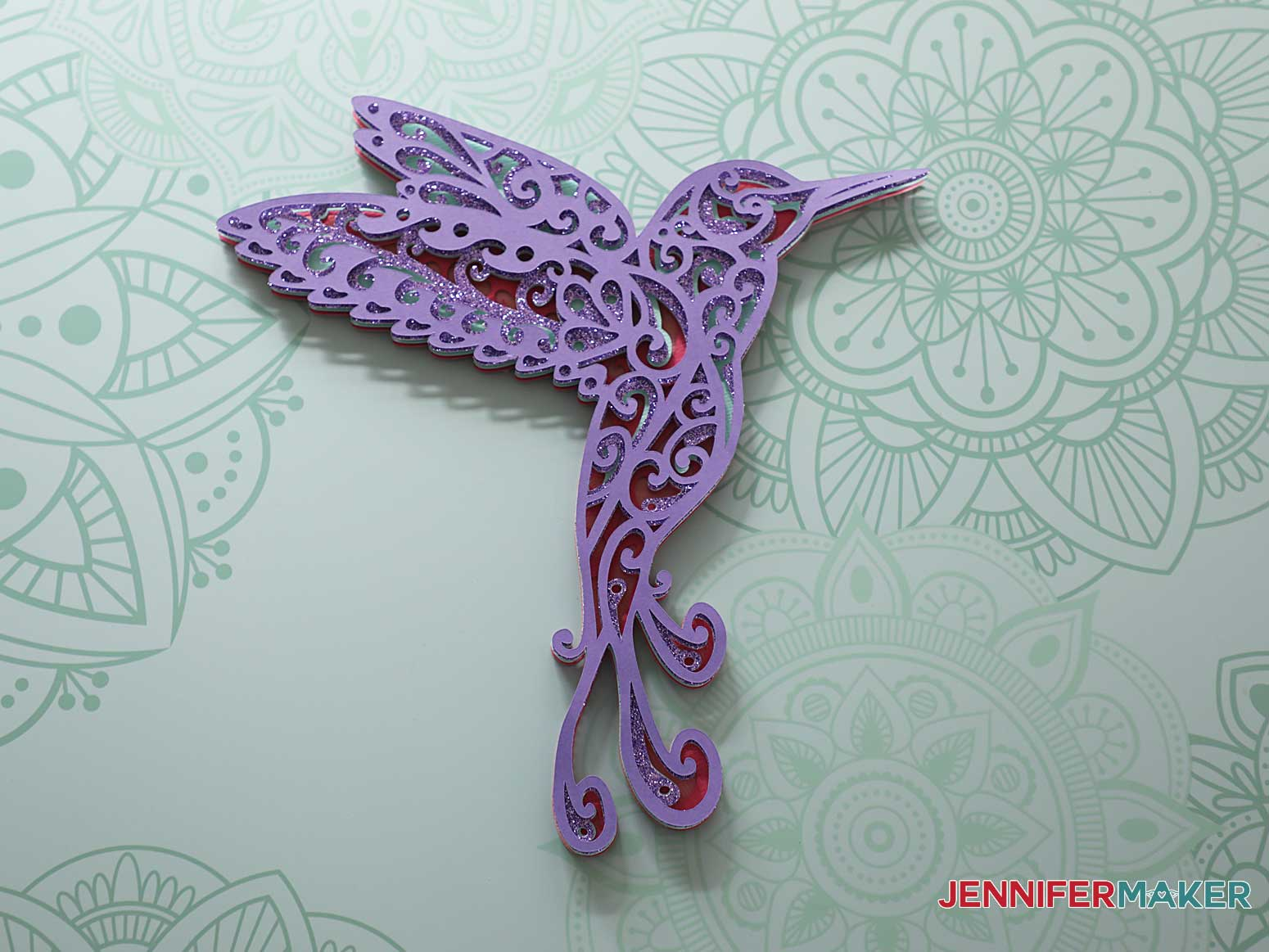 3d layered mandala hummingbird