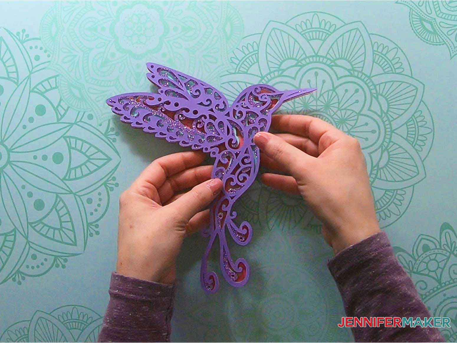 3d layered mandala hummingbird assembled project