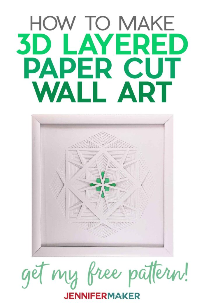 Make a 3D Layered Paper Cut Crystal or Diamond with white cardstock in a white frame with our free SVG cut file #papercraft #3d #homedecor