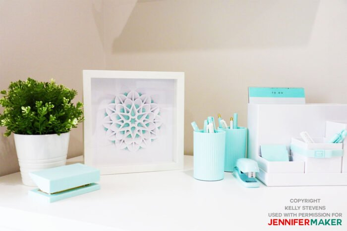 3D Layered Paper Cut Flower on a lovely white desk