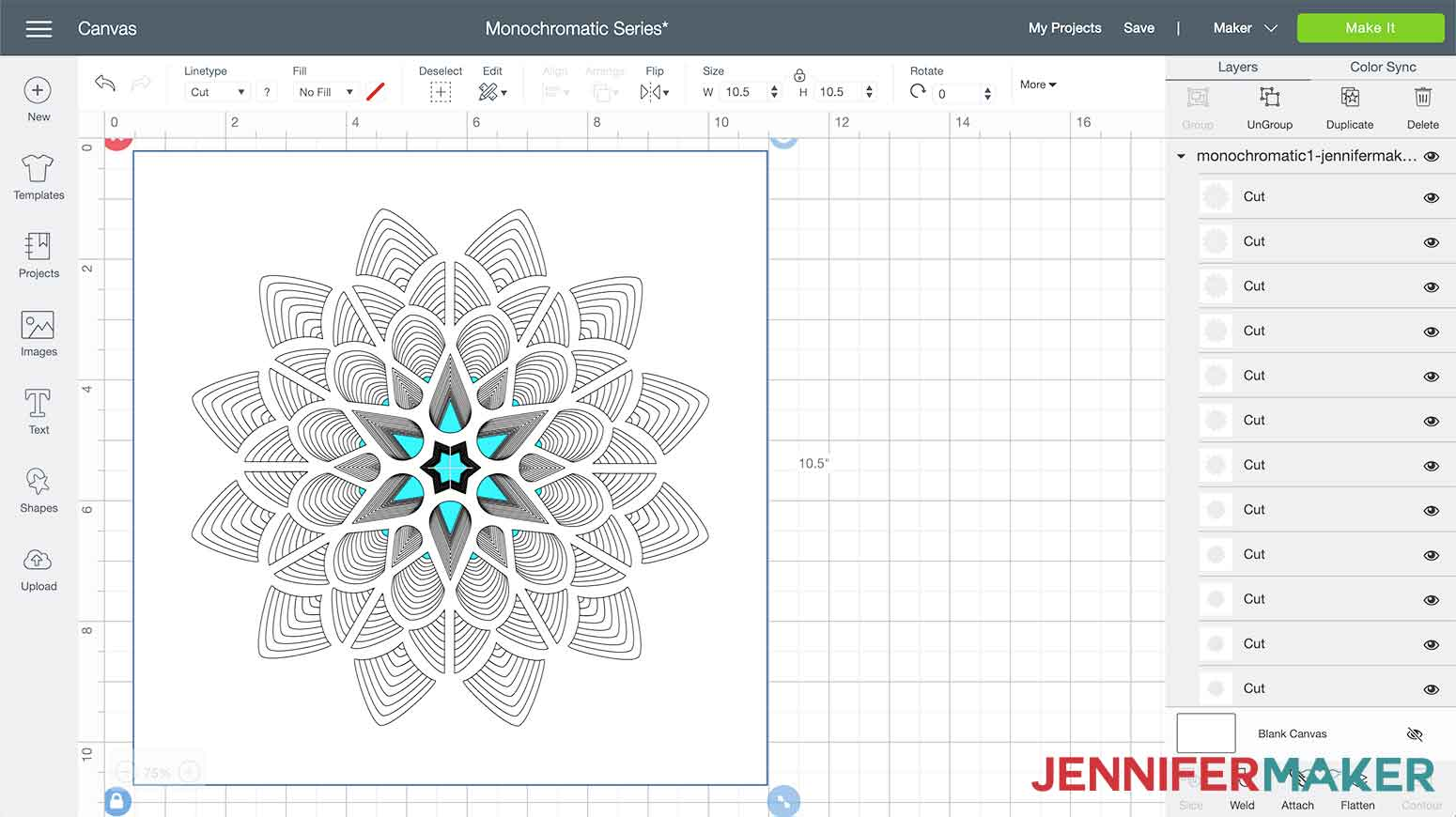 This is what my 3D paper cut art flower design looks like in Cricut Design Space