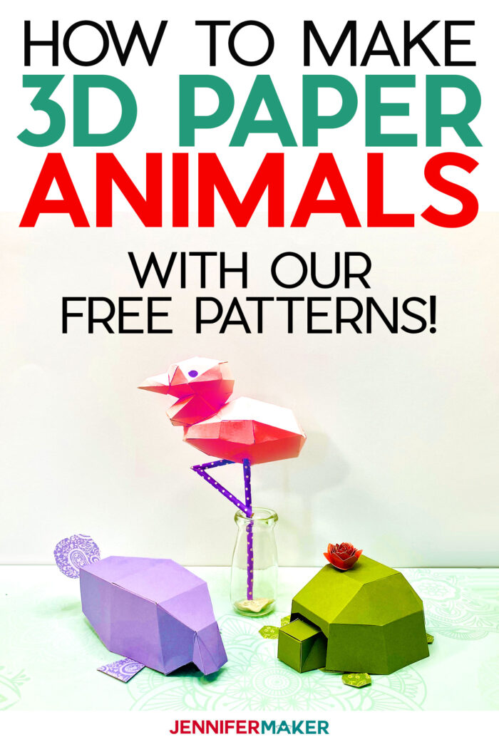 Make it Easy 3D Paper Animals with free patterns - cut by hand or on a Cricut!