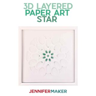 Make a 3D Paper Art Layered Star design with white cardstock in a white frame with our free SVG cut file #papercraft #3d #homedecor
