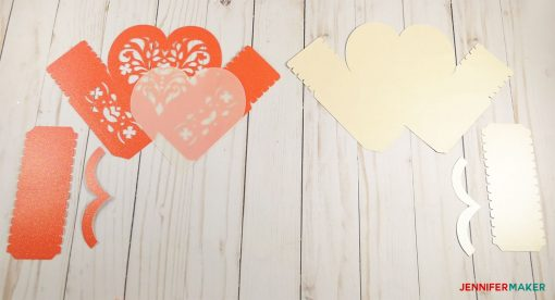 Cut out your card stock and vellum to make the 3D paper heart box