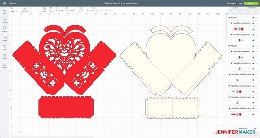 Upload and prepare your cut file in Cricut Design Space to make your 3D paper heart box