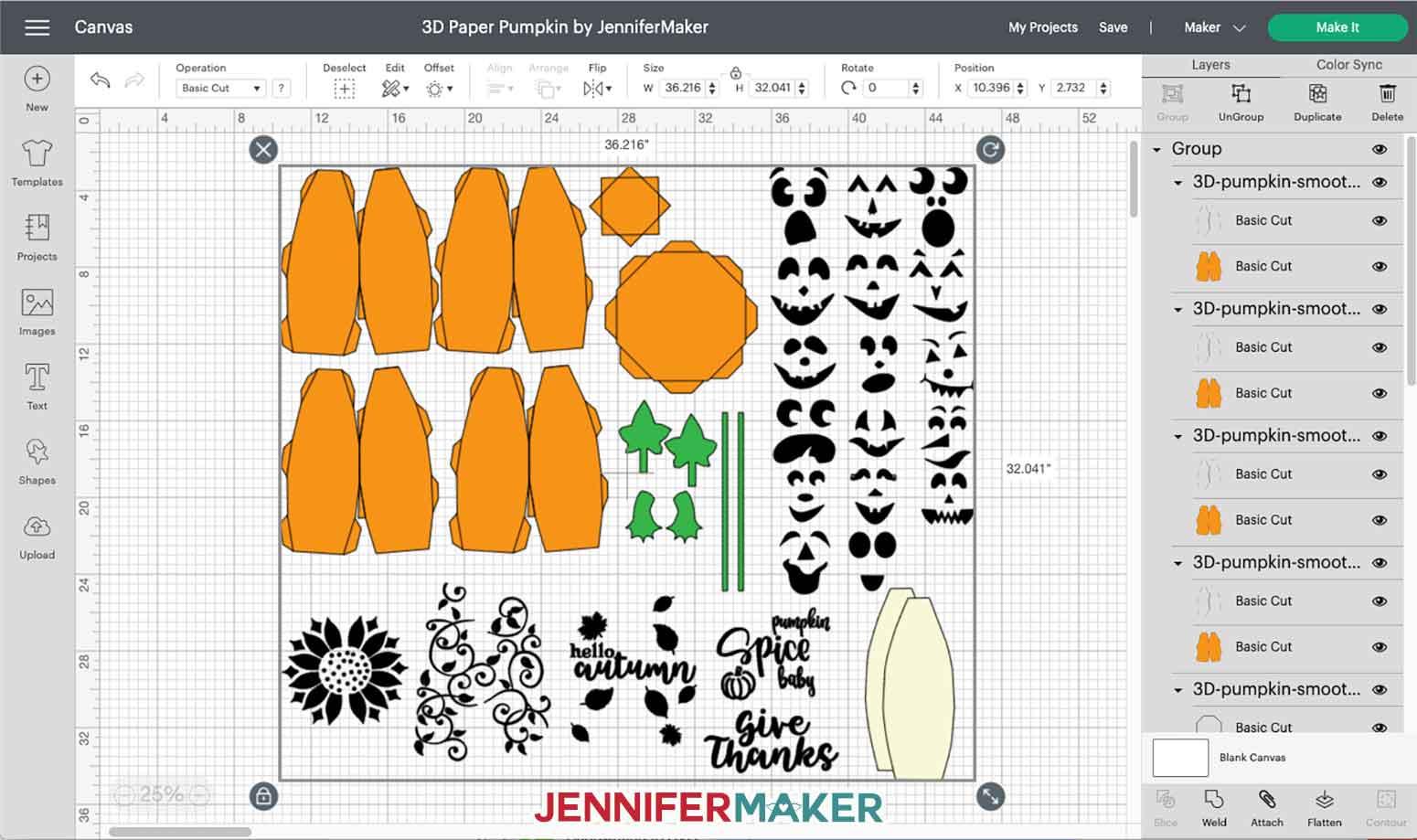 3D Paper Pumpkin SVG Cut File uploaded to Cricut Design Space