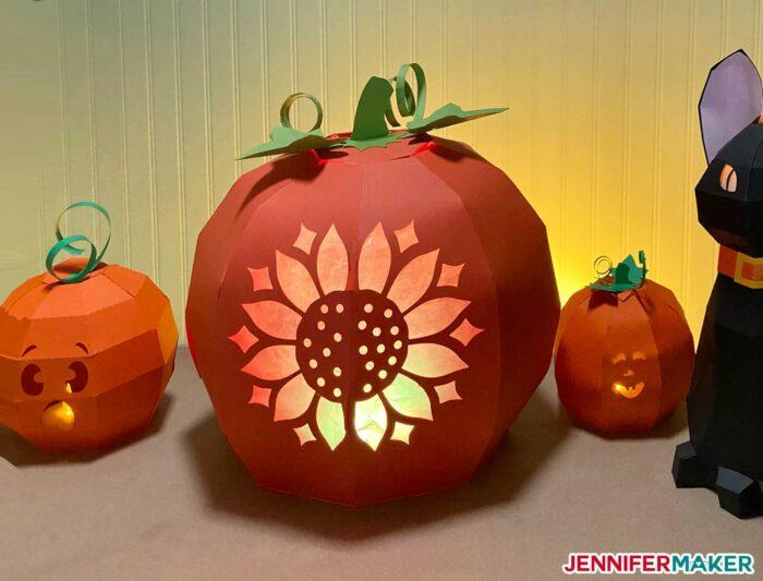 3D Paper Pumpkin with Sunflower Design Made on a Cricut cutting machine