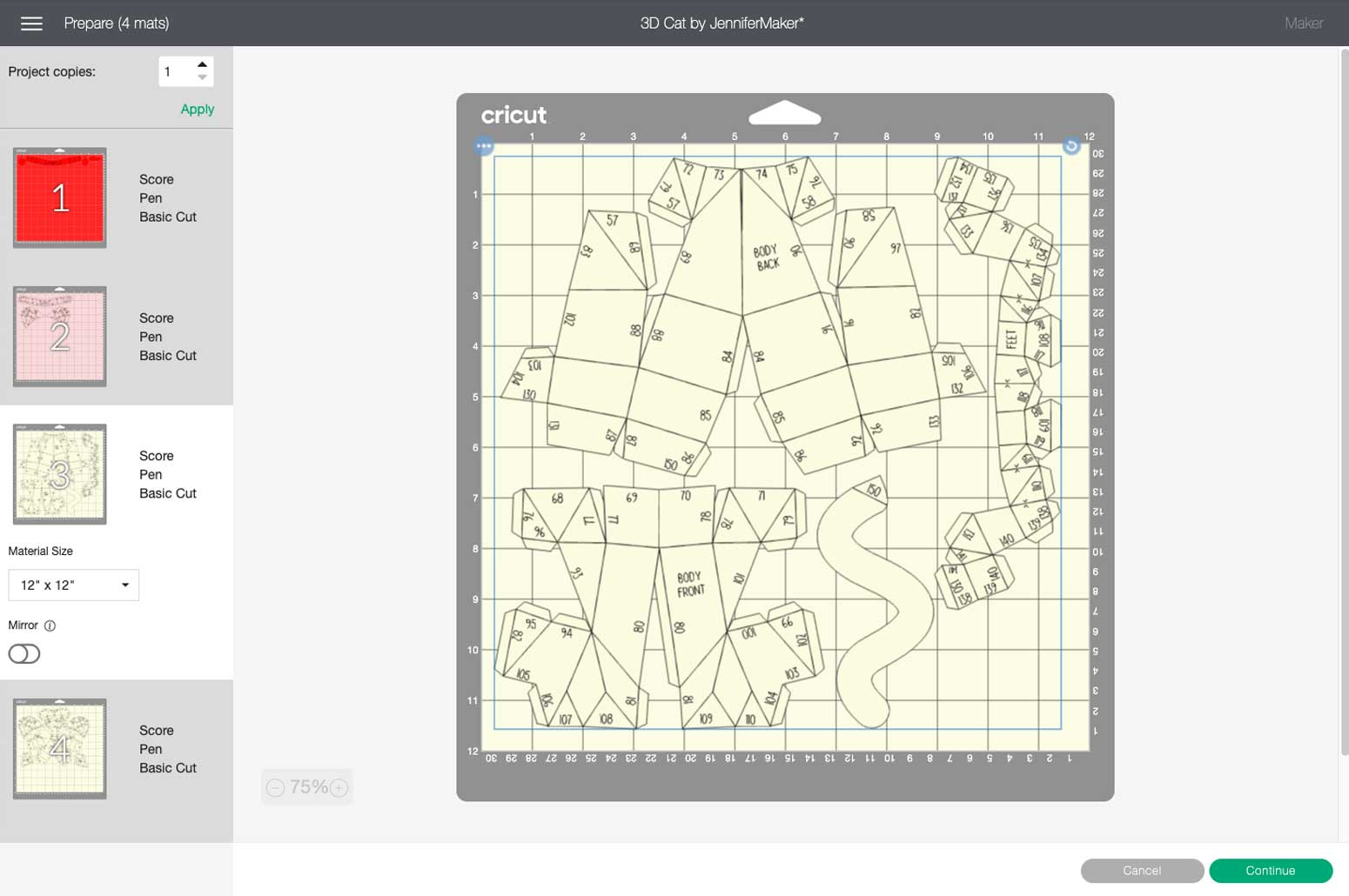 Previewing the cutting mats in Cricut Design Space