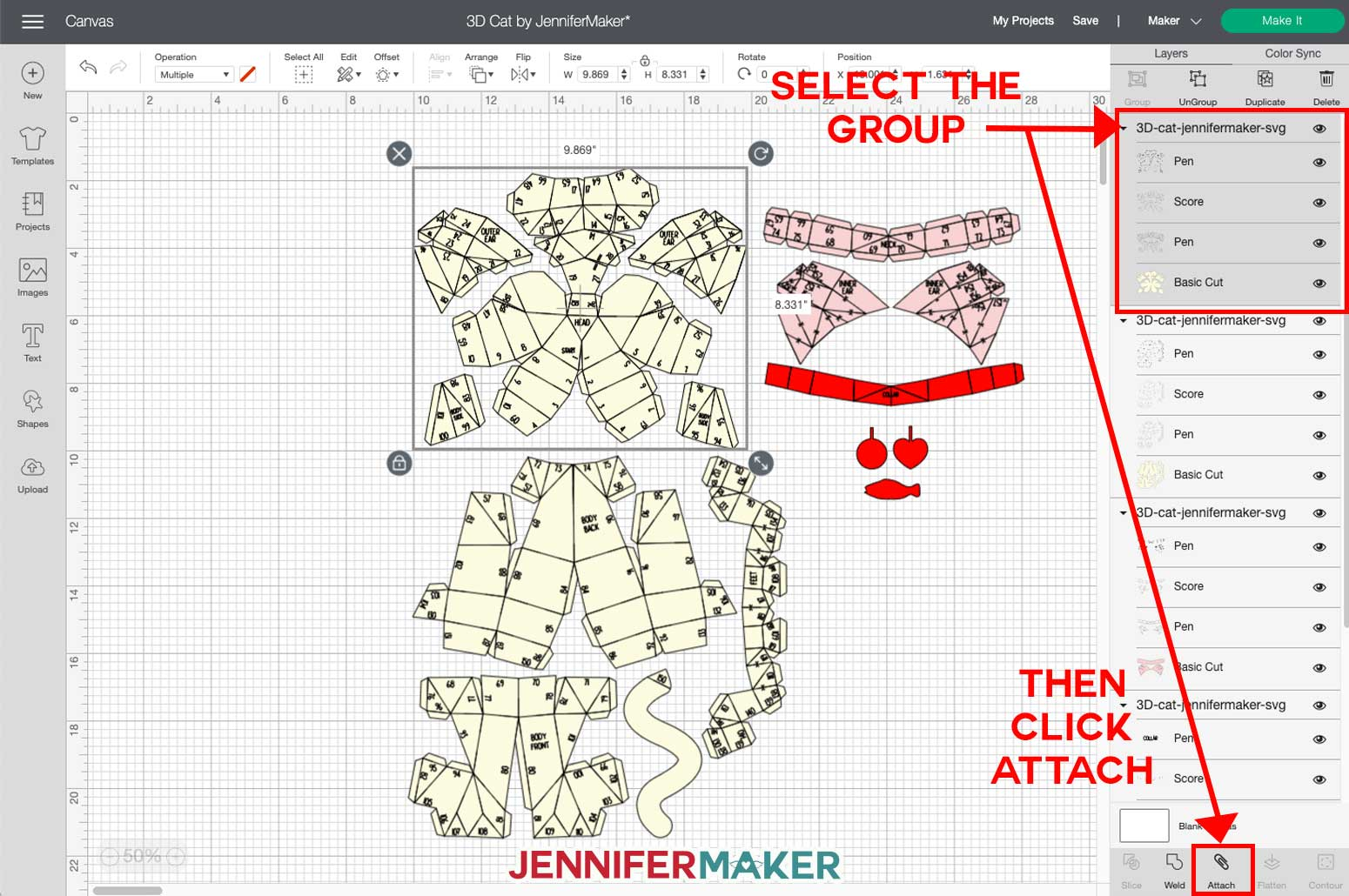 Attaching a group in Cricut Design Space