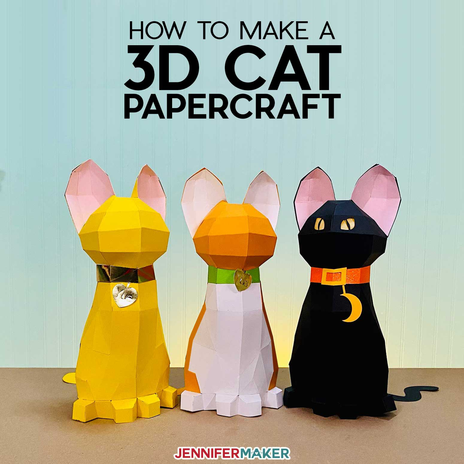 3D Papercraft Cats cut on the Cricut cutting machine - free SVG cut file and printable pattern