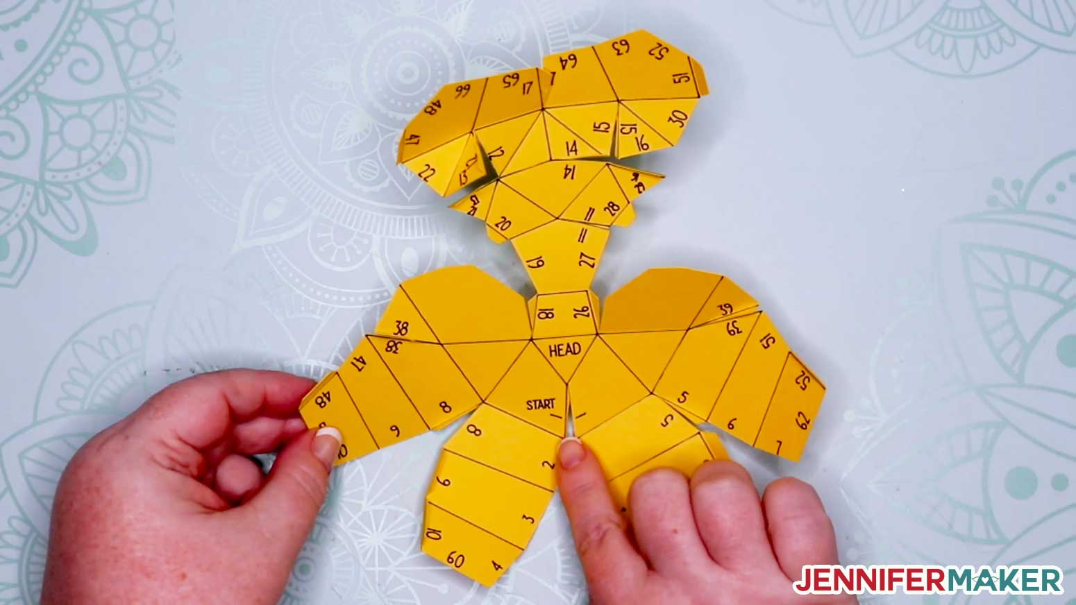 """The Head piece is marked with numbers and the word """"start"""" for your 3D paper cat"""