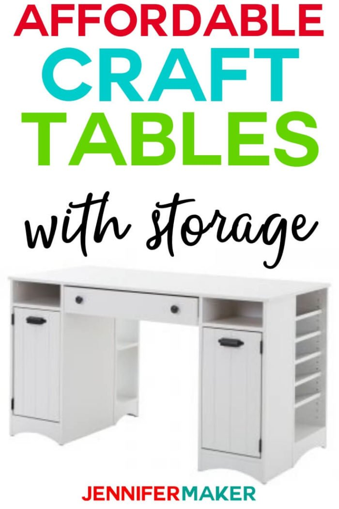 A Craft Table is a must if you are a crafter. Finding an affordable option with storage can be difficult. I have compiled the ultimate list of affordable craft tables with storage for you.  #papercrafts #papercrafting #cricutprojects #craftprojects #craftroom