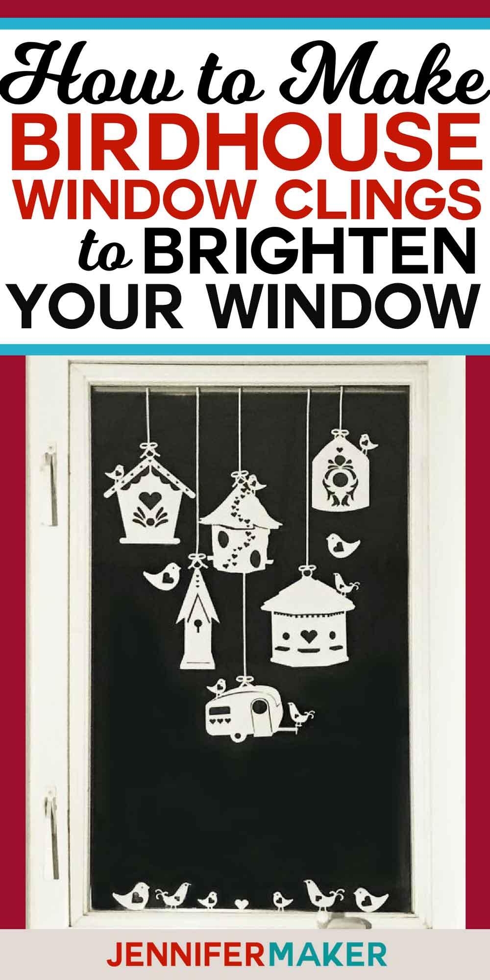 Birdhouse Window Clings | Free SVG Cut File for Cricut and Silhouette #birdhouses #cricut #windowideas