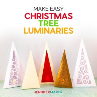 Make easy Christmas Luminaries that look like 3D trees from cardstock and glue! #cricut #christmas #papercraft