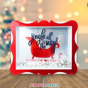 Christmas Shadow Box with Santa's Sleigh and jingle bells
