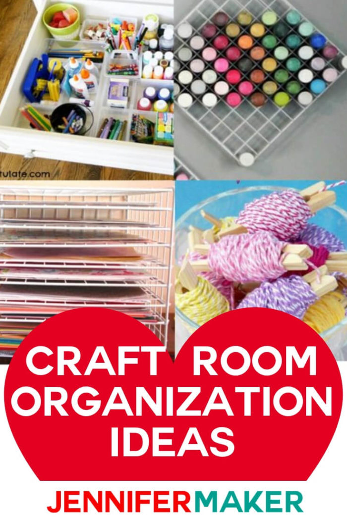 Learn how to organize your craft room with these clever solutions for a variety of different craft supplies.  #diy #tutorial #craftprojects #craftroom
