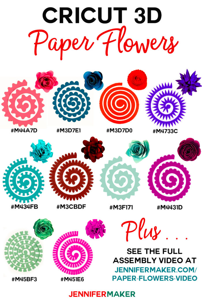 Cricut Paper Flowers - All 10 flowers with cut shape, finished flower, and Design Space codes! #cricut #paperflowers #papercraft #cricutdesignspace #cricutmade