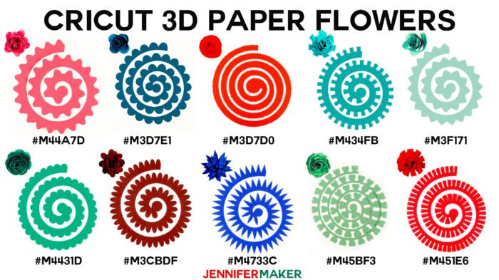 Cricut Paper Flowers - All 10 flowers with cut shape, finished flower, and Design Space codes!