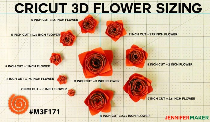 Cricut Paper Flower Sizing Guide - 10 Sizes from 2 inches to 11 inches