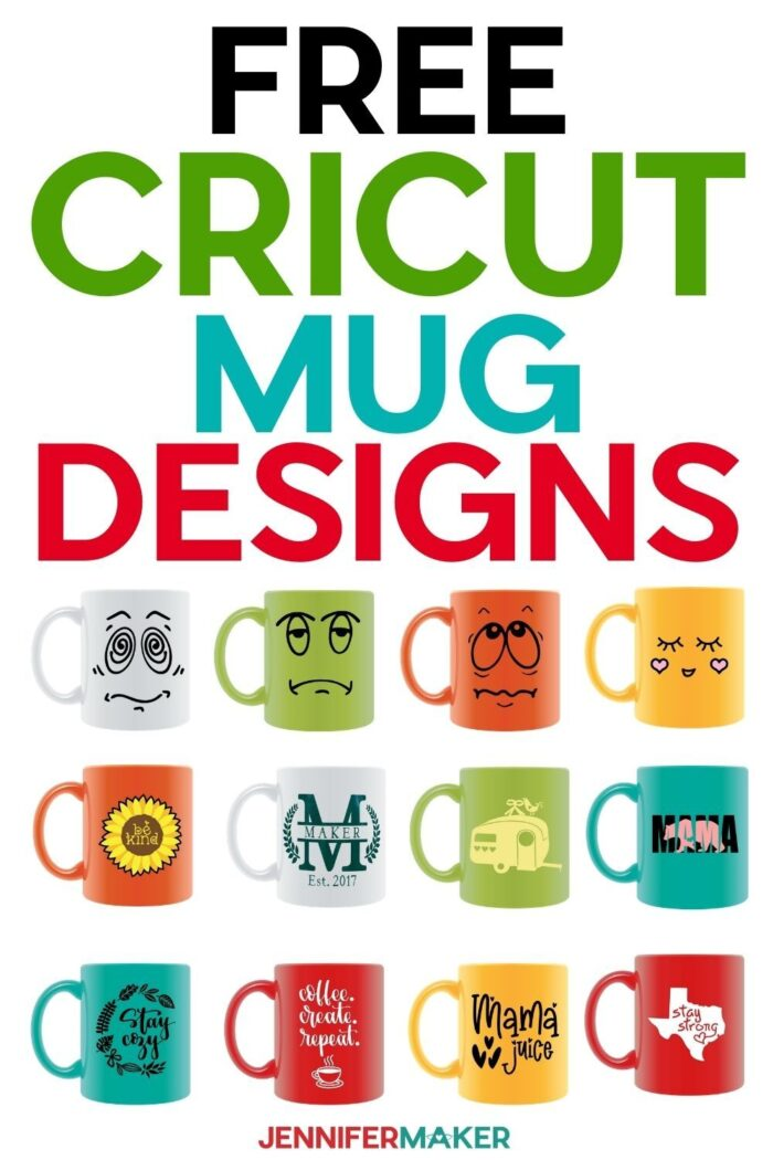Cricut Mug ideas with free SVG cut files for decals, monograms, inspiration, and faces #cricut #mugs #vinyl