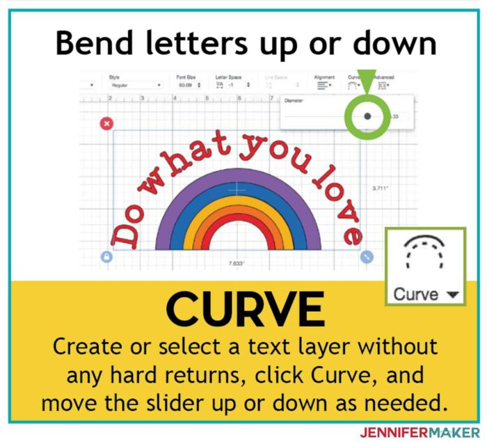 Use Curve to bend letters up and down in Cricut Design Space