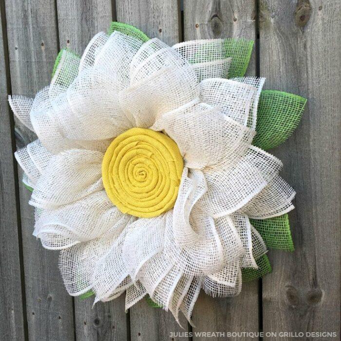 Burlap Daisy Wreath by Grillo Designs