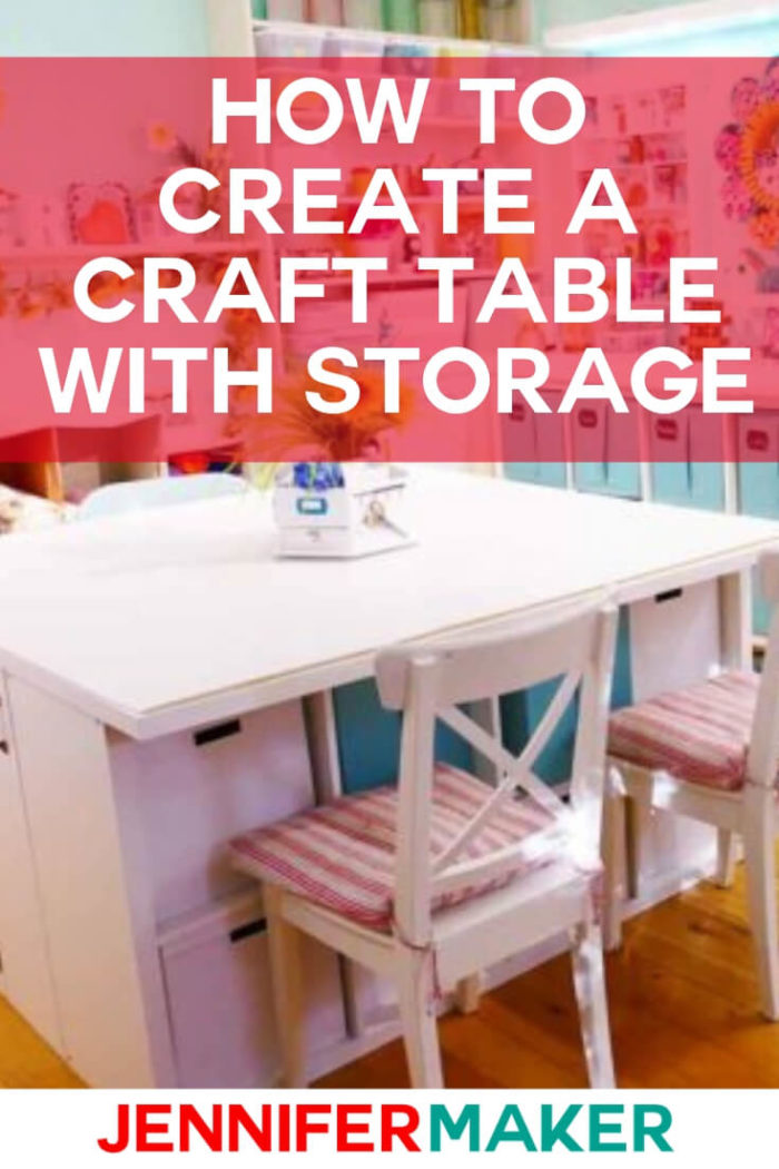 This DIY craft table with storage uses inexpensive components from IKEA. It will provide you with 25 sq. ft. of work space, 8 cubbies, 8 drawers, and two hidden compartments for big items.  #diy #tutorial #craftroom