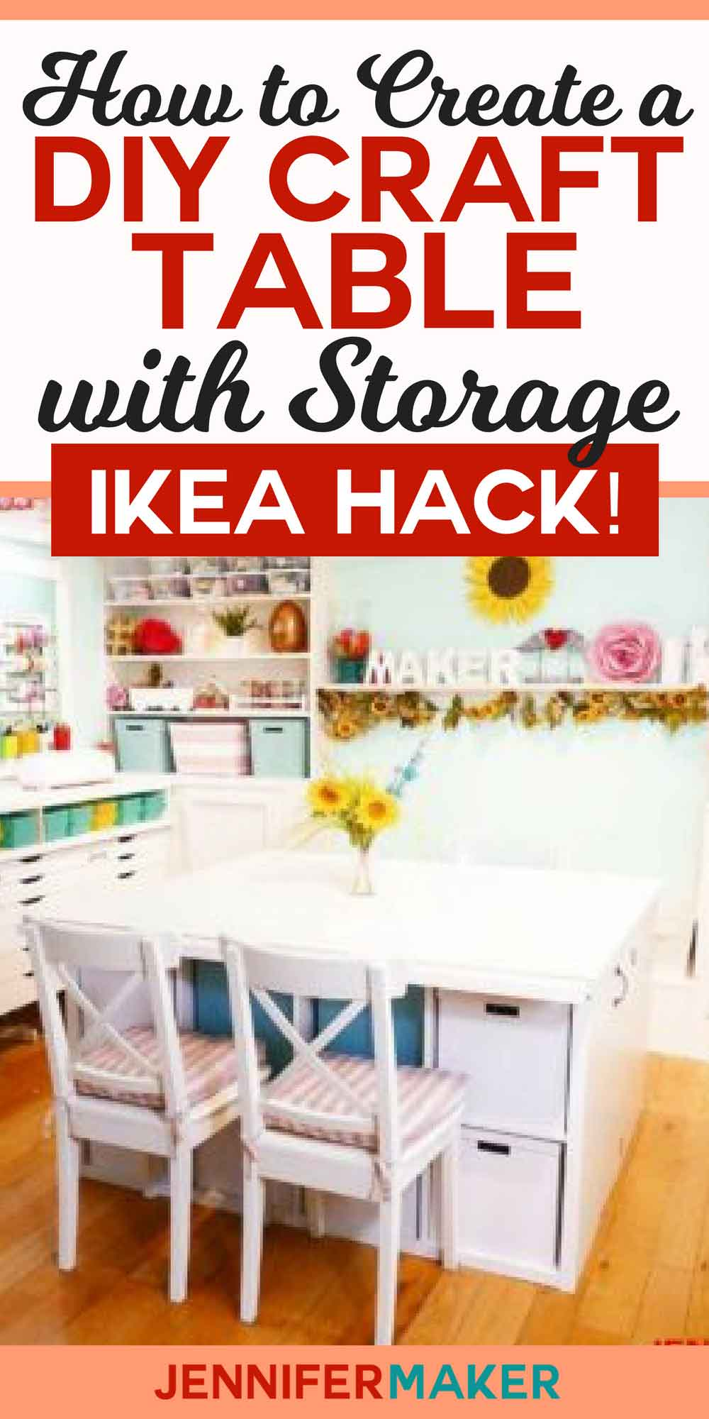 DIY Craft Table with Storage for Under $300 #organization #craftroom #ikeahack