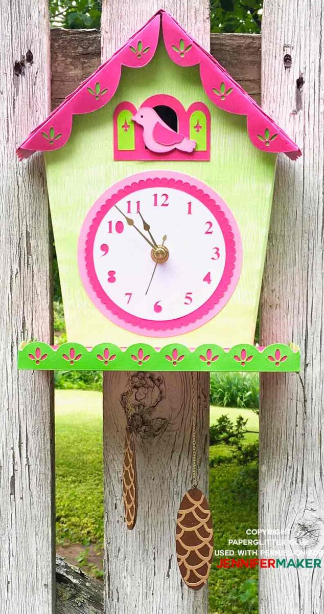 Finished pink and green floral baby shower gift tutorial of a DIY cuckoo clock