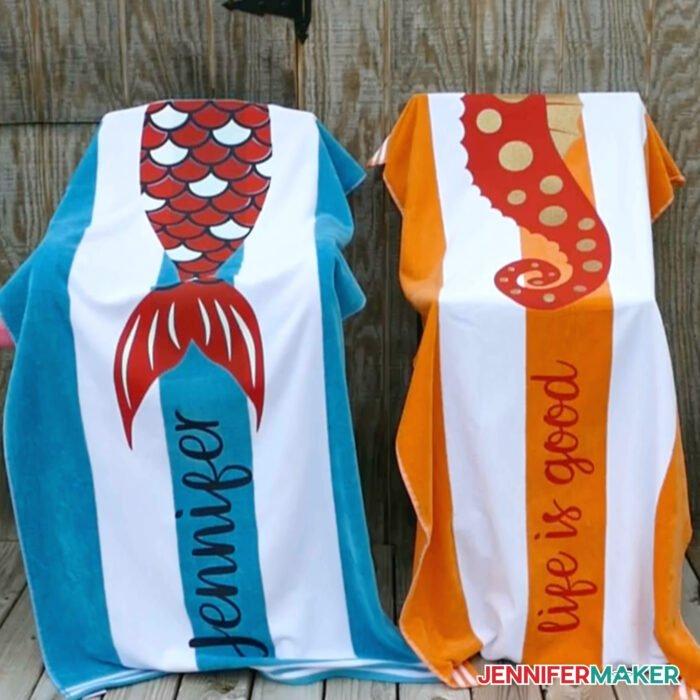 Cute seahorse and mermaid DIY personalized beach towels
