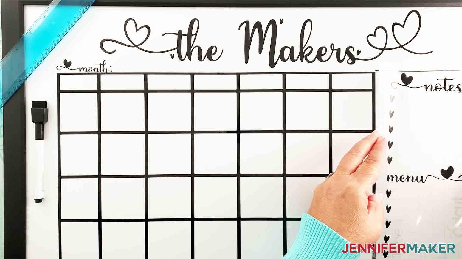 DIY-Whiteboard-Calendar-JenniferMaker-apply-notes-vinyl