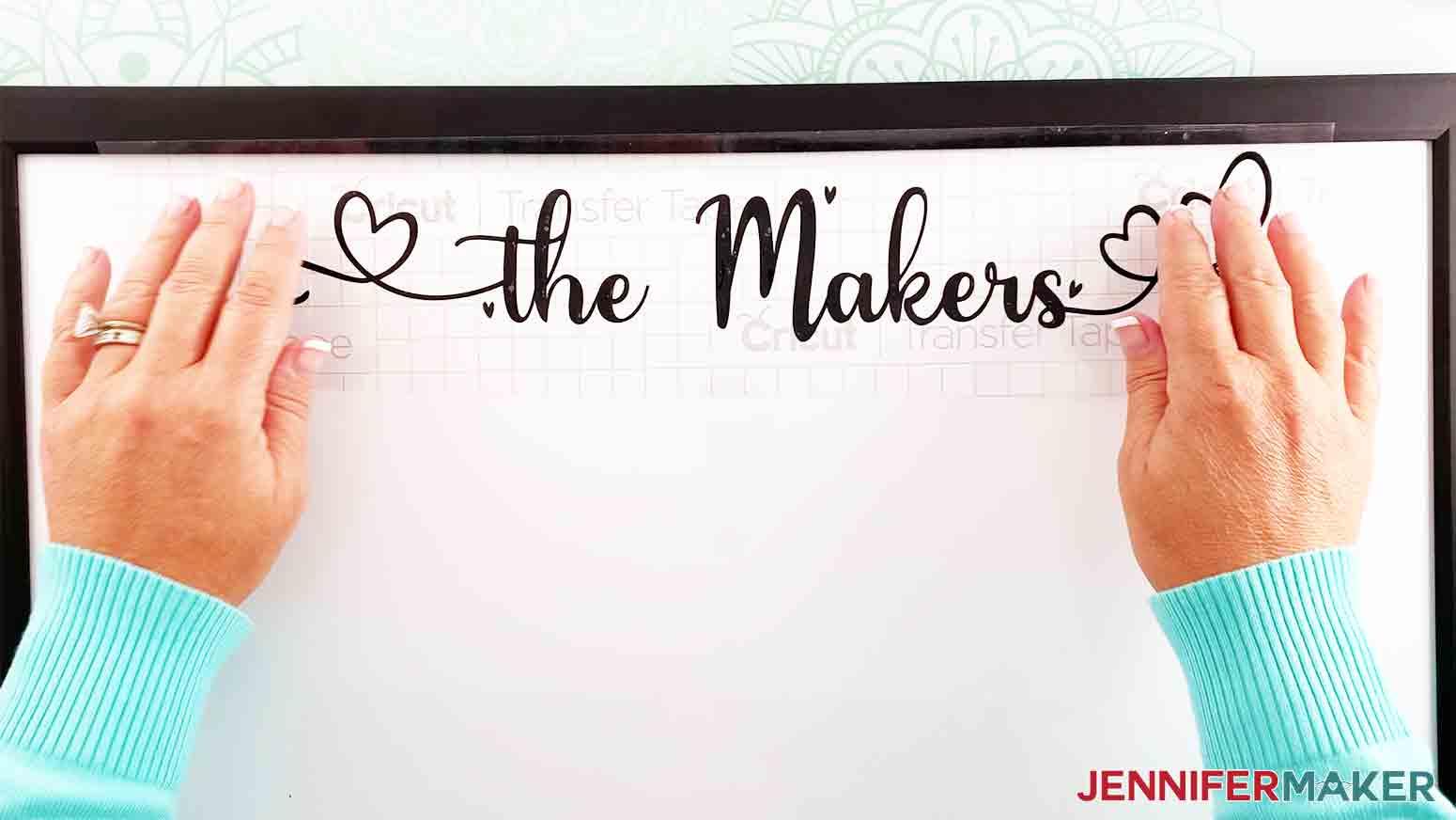 DIY-Whiteboard-Calendar-JenniferMaker-apply-vinyl-last-name