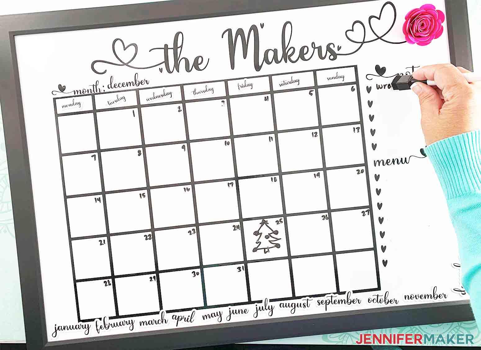 DIY-Whiteboard-Calendar-JenniferMaker-erasing