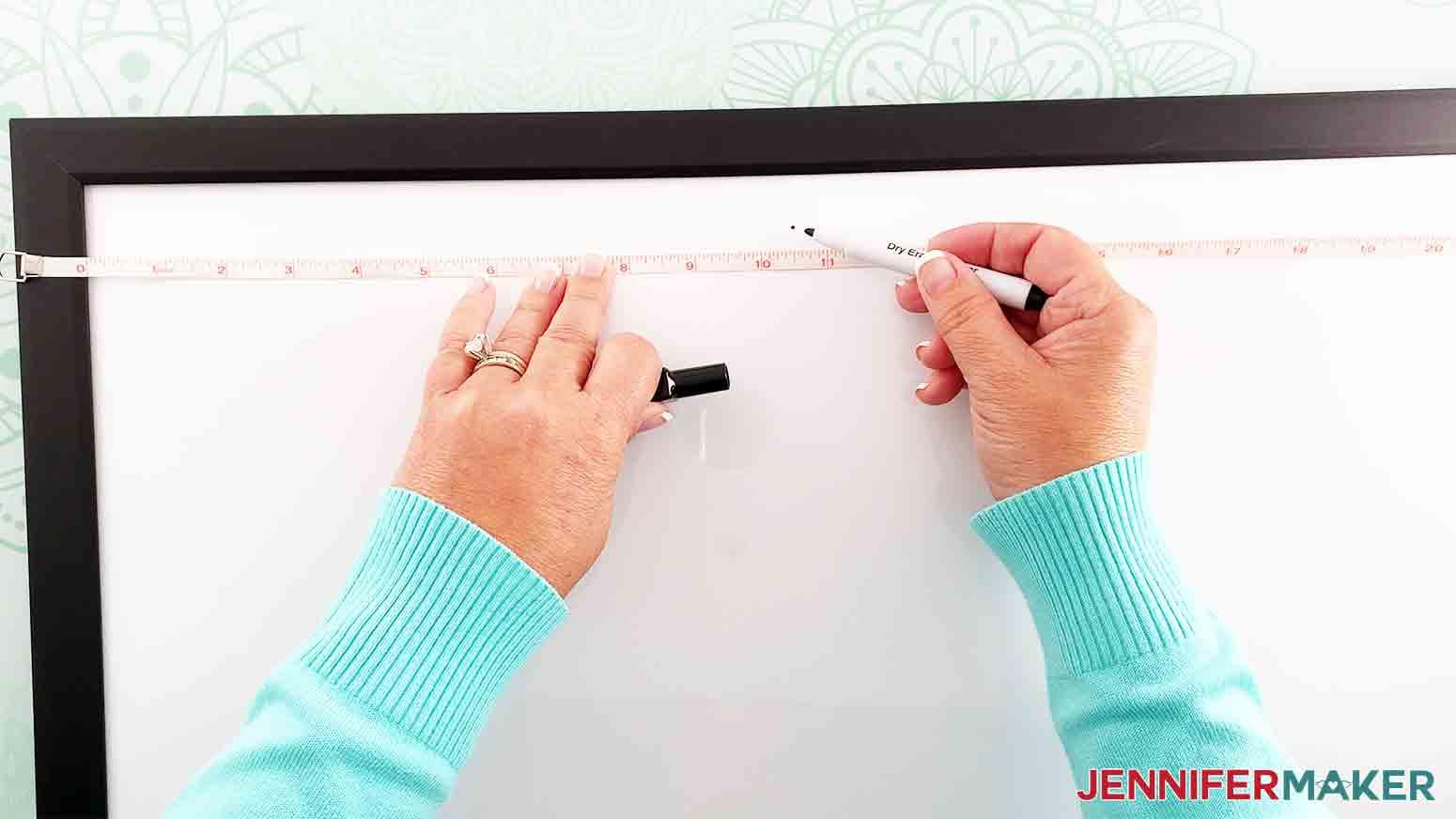 DIY-Whiteboard-Calendar-JenniferMaker-measure-and-mark-center-whiteboard