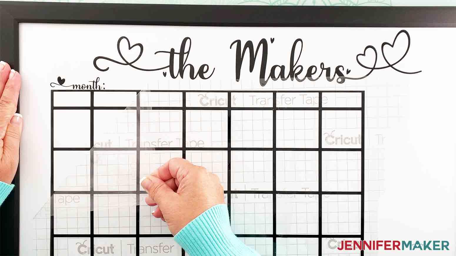 DIY-Whiteboard-Calendar-JenniferMaker-peel-transfer-tape-off-vinyl-calendar