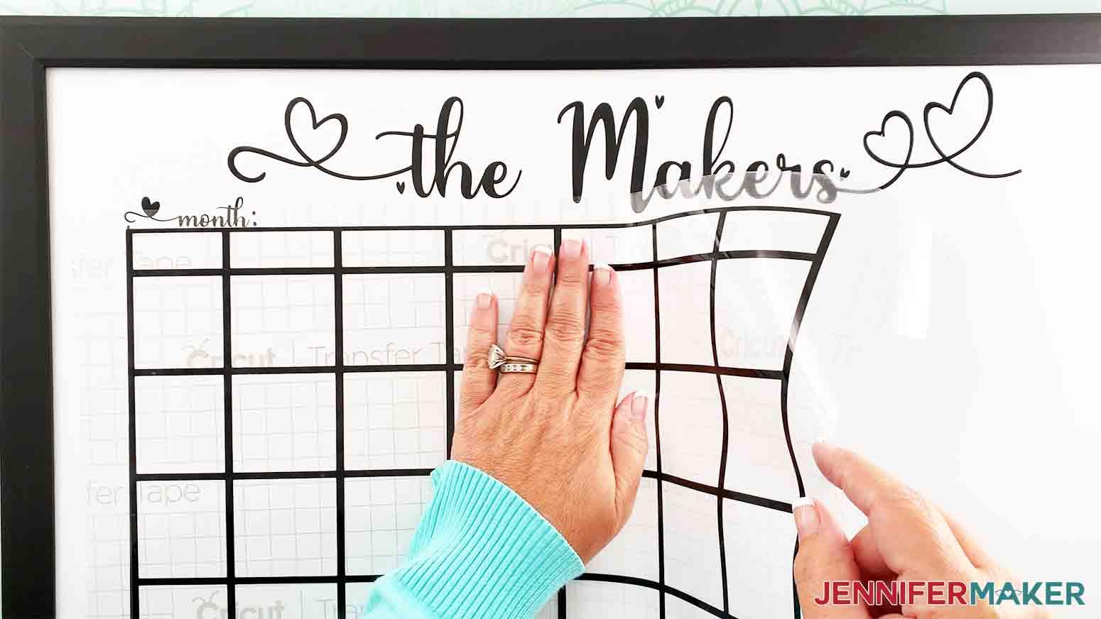 DIY-Whiteboard-Calendar-JenniferMaker-smooth-and-apply-vinyl-calendar