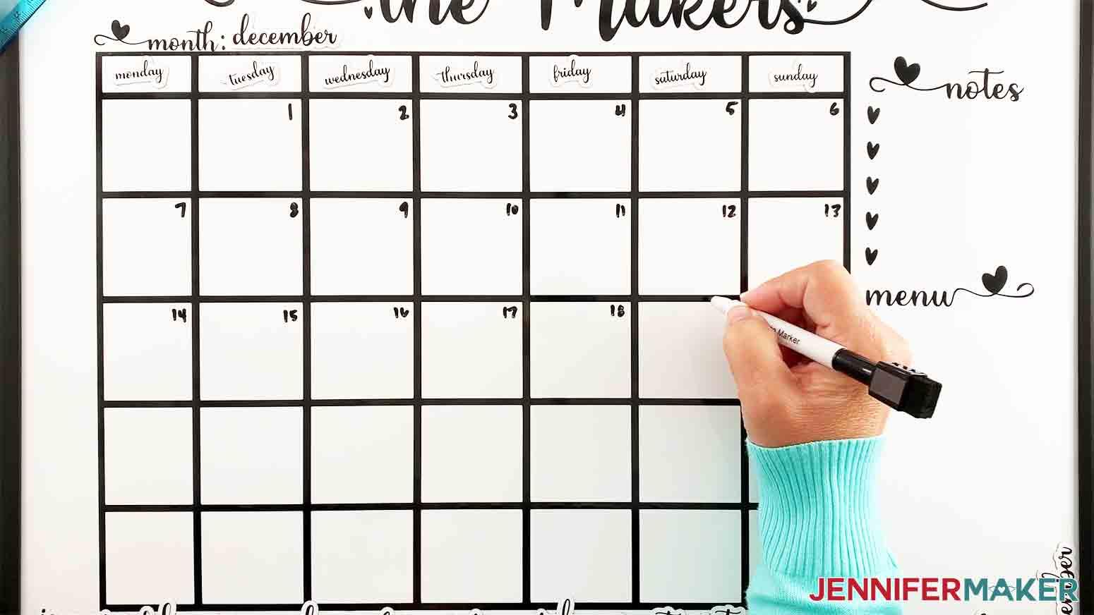 DIY-Whiteboard-Calendar-JenniferMaker-write-in-dates