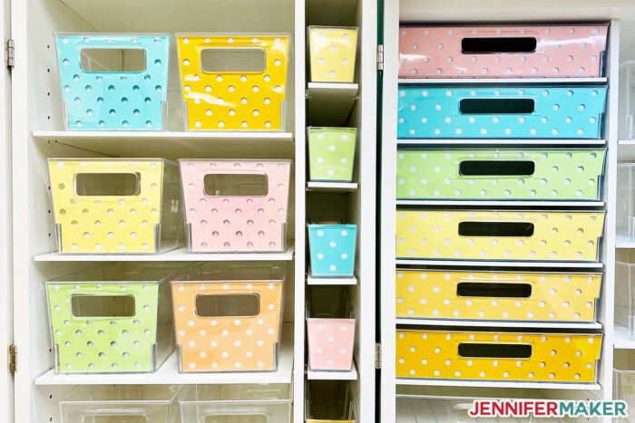 Colorful paper liners inside Dreambox storage totes ... with POLKA DOTS