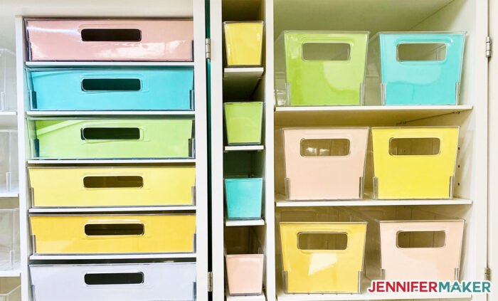 Solid paper liners inside Dreambox storage totes