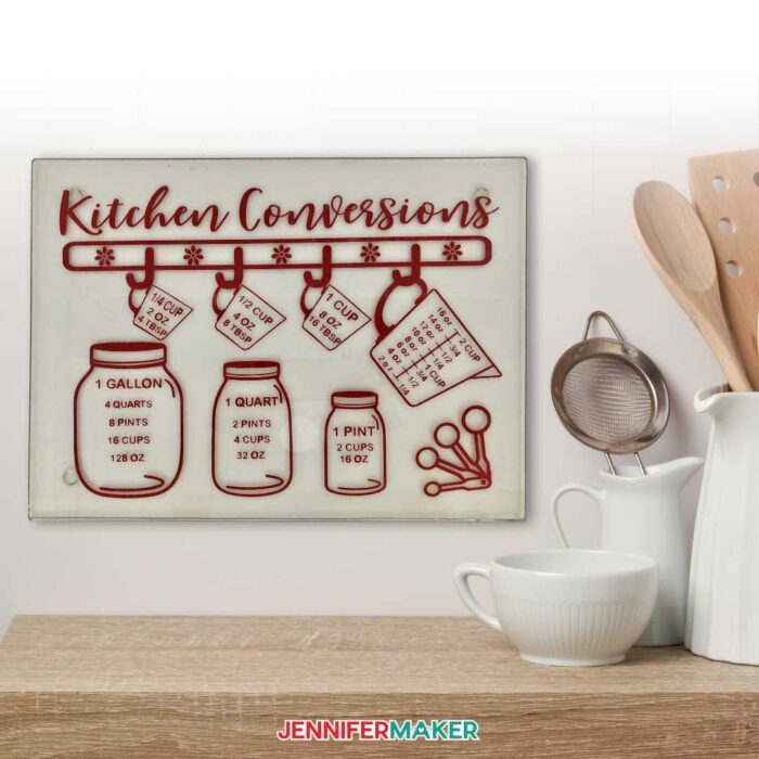 Easy Kitchen Conversions Decal on a cutting board