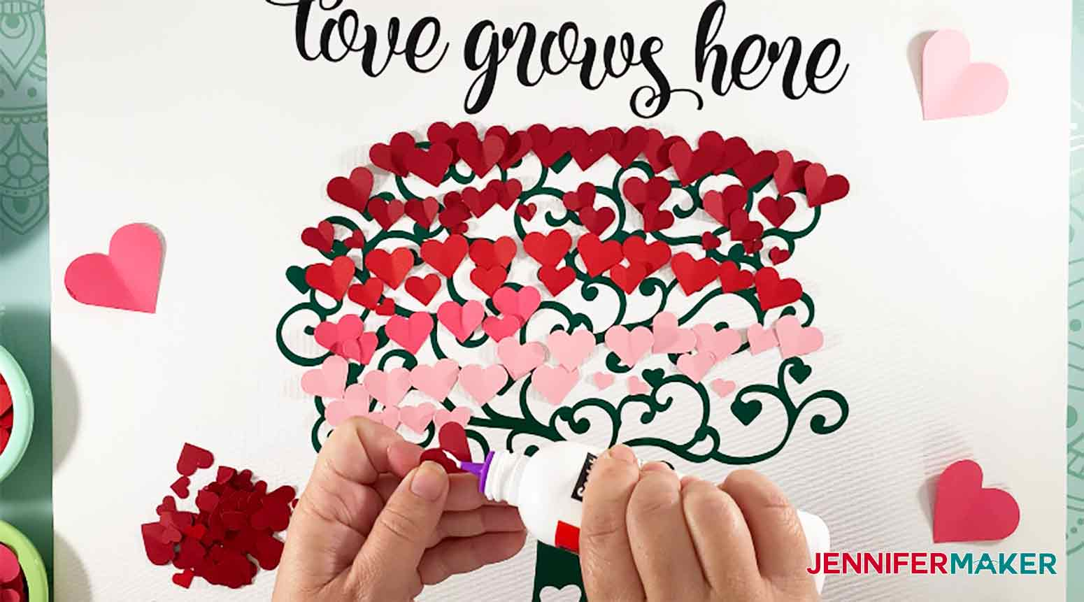 Glue Paper Hearts to Easy Paper Heart Tree by JenniferMaker