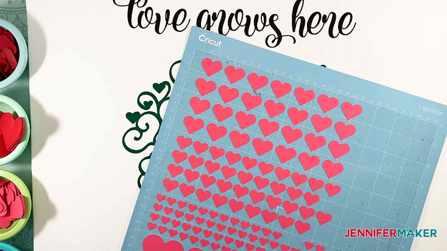 Paper Hearts cutout with Cricut for Easy Paper Heart Tree Project by JenniferMaker