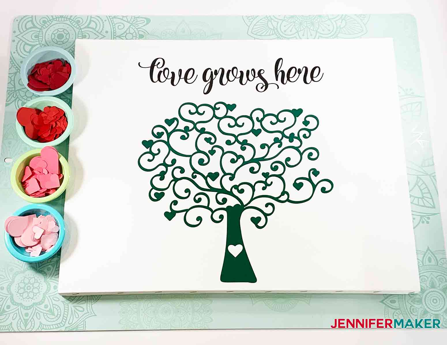 Vinyl Tree and Quote on canvas for Easy Paper Heart Tree by JenniferMaker