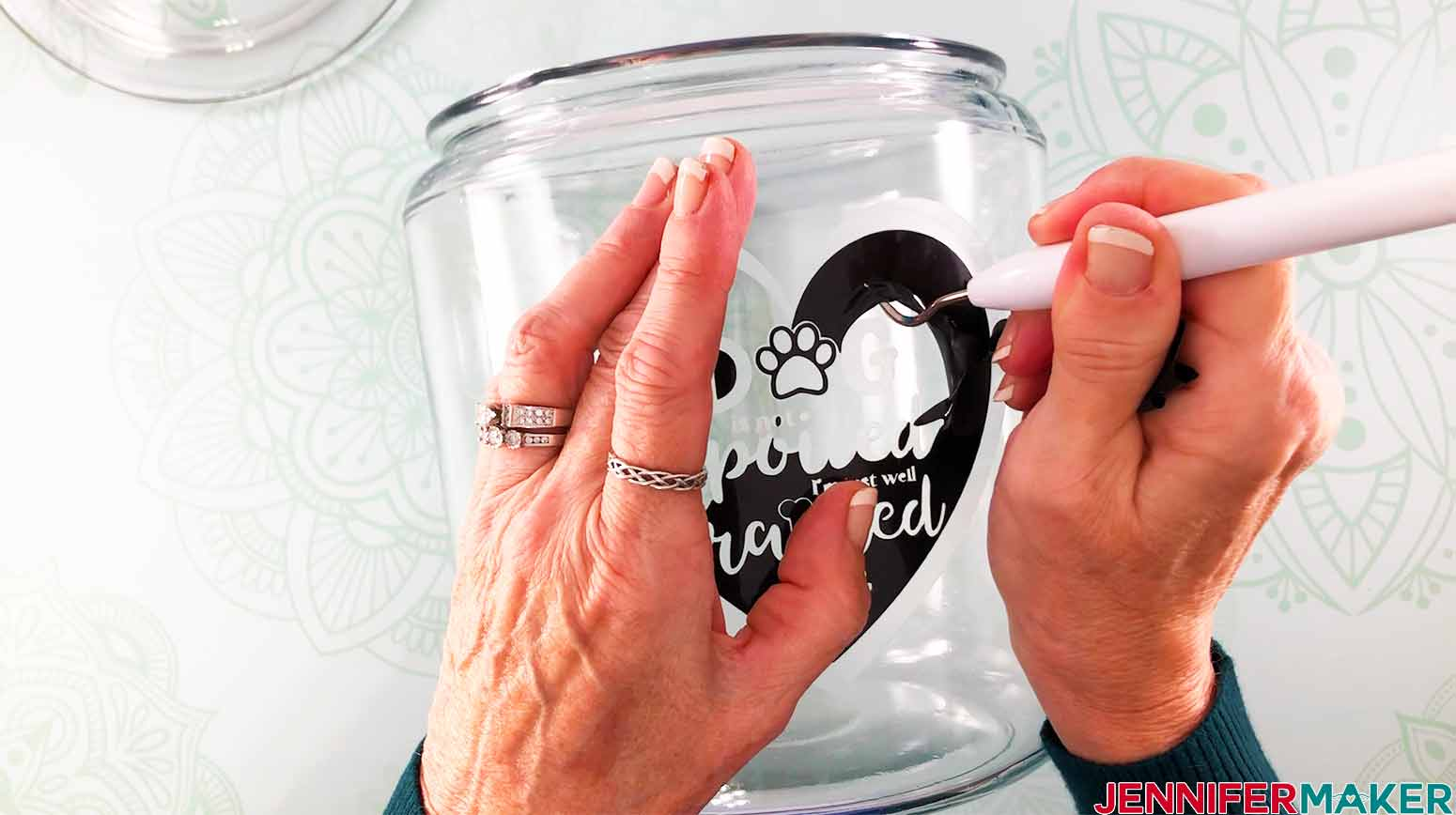 use weeding tools to help with removing vinyl stencil on my etching on glass jar project