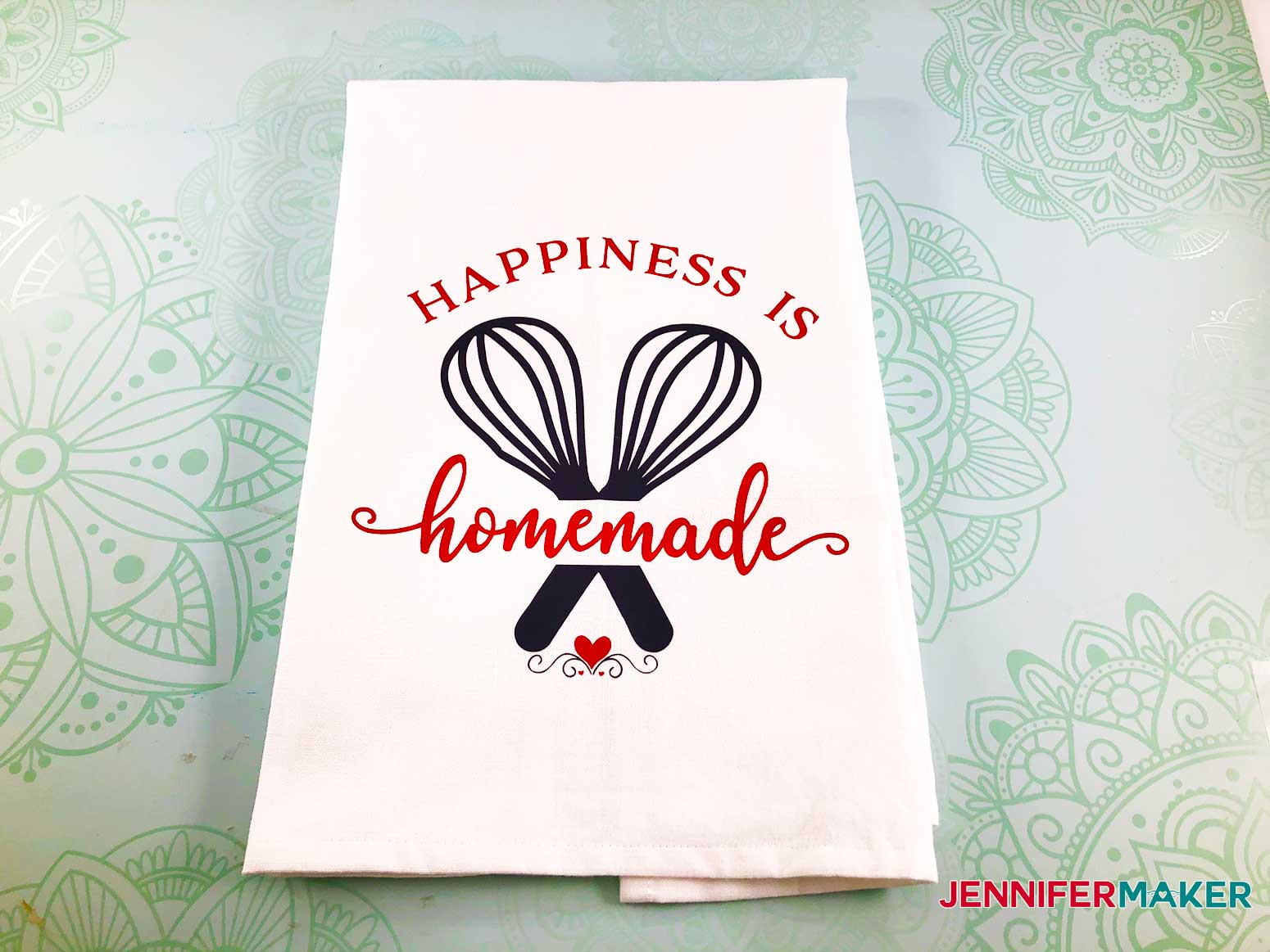 Happiness is Homemade design finished on my decorative hand towel