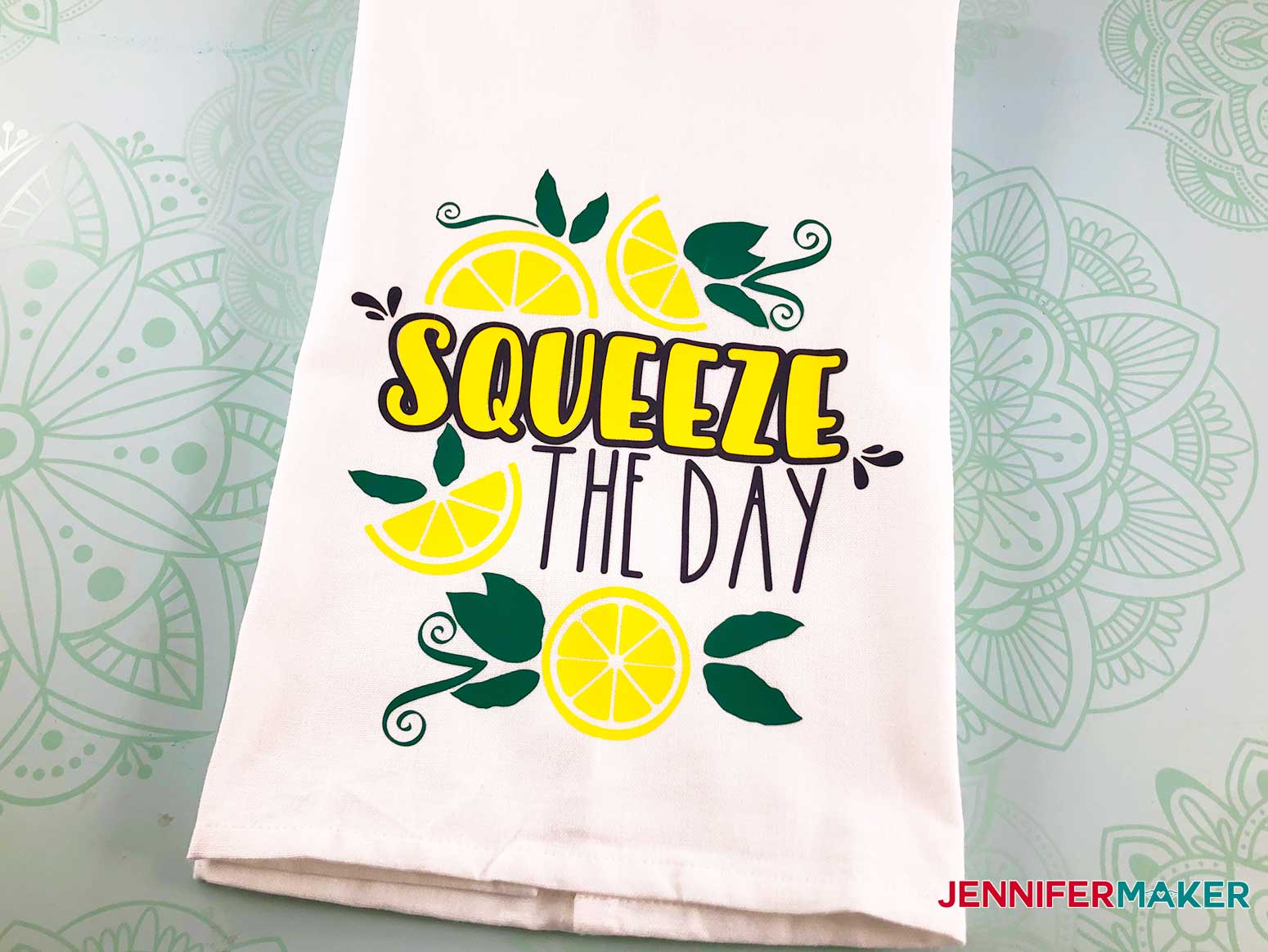 Squeeze the day finished towel on my decorative hand towel
